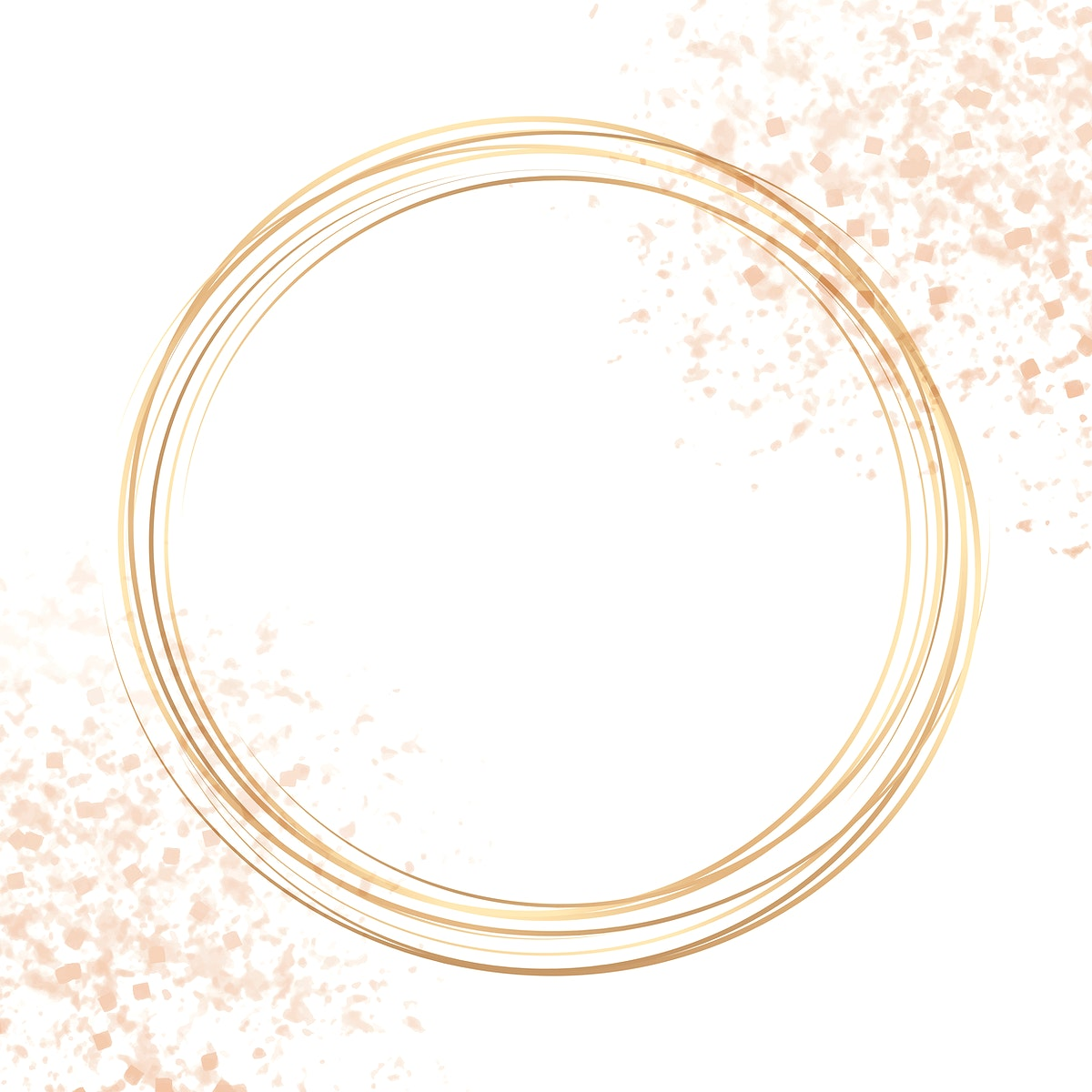 Gold circle frame on a pastel pink confetti background vector