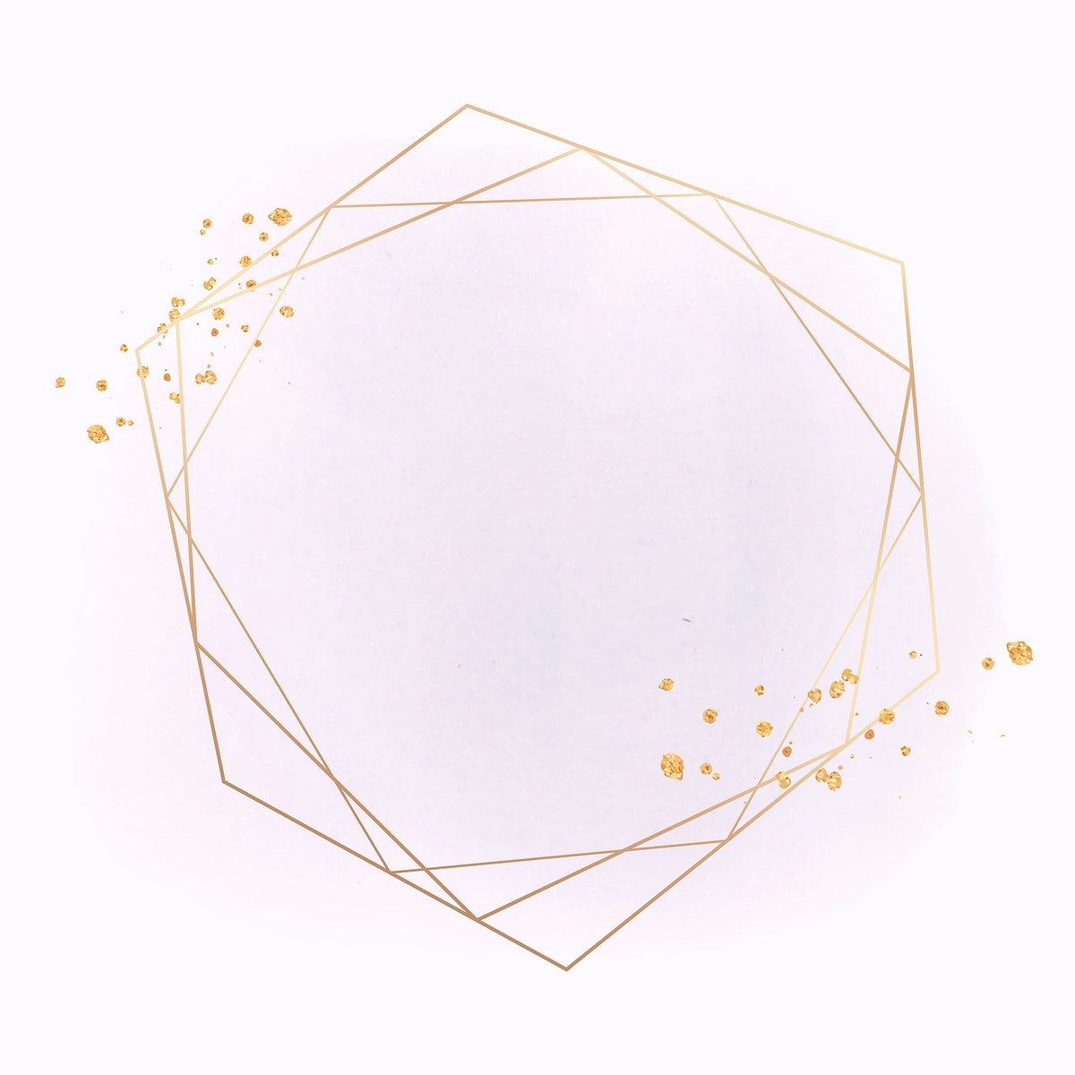 Gold geometric frame on a pink background vector