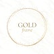 Gold circle frame on a white marble background vector