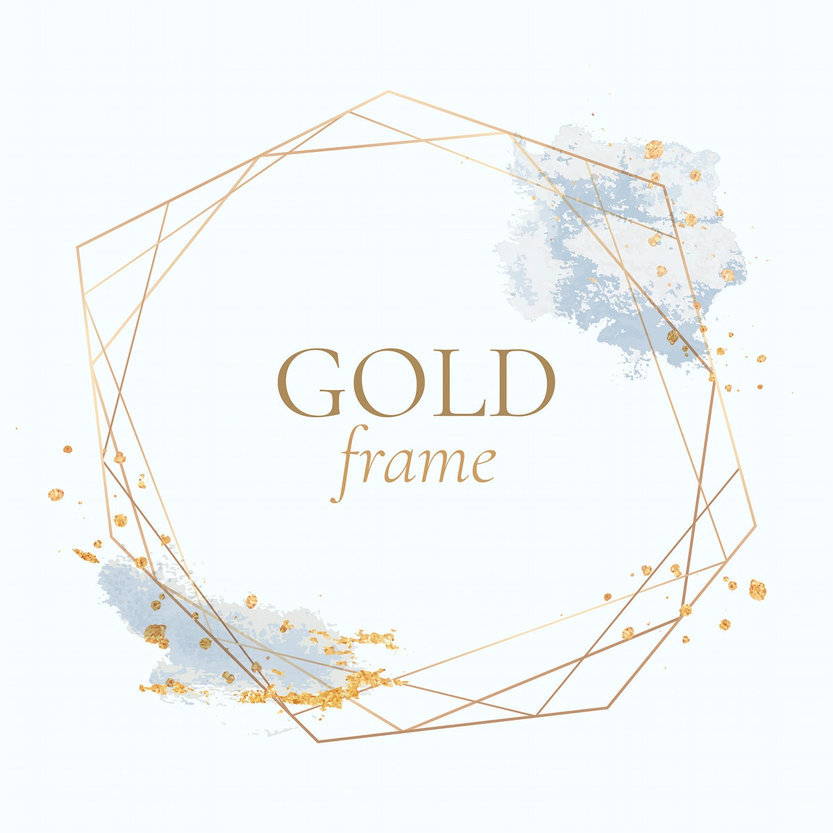 Gold geometric frame on a white background vector