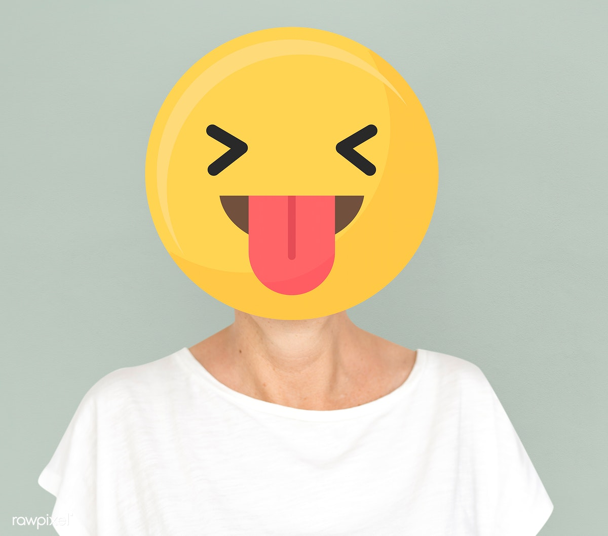 Download premium image of Funny face emoji portrait on a woman 586678
