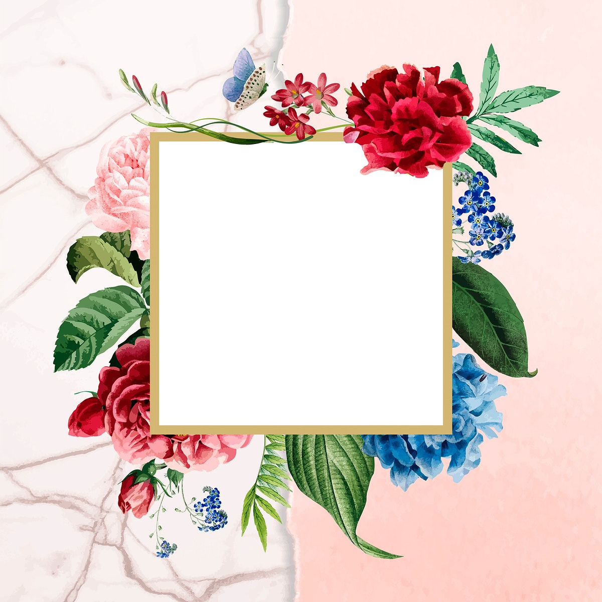 Floral square frame on a marble background vector
