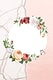 Floral round frame on a marble background illustration