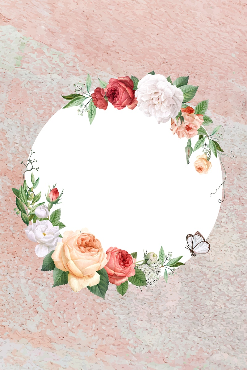 Floral frame on a stone vector