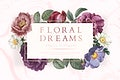 Floral dreams banner on a marble textured background vector