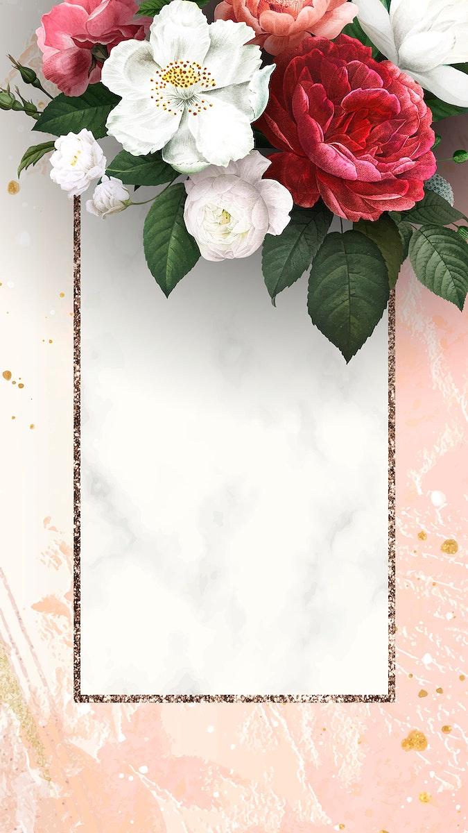 Floral frame on a peach background vector