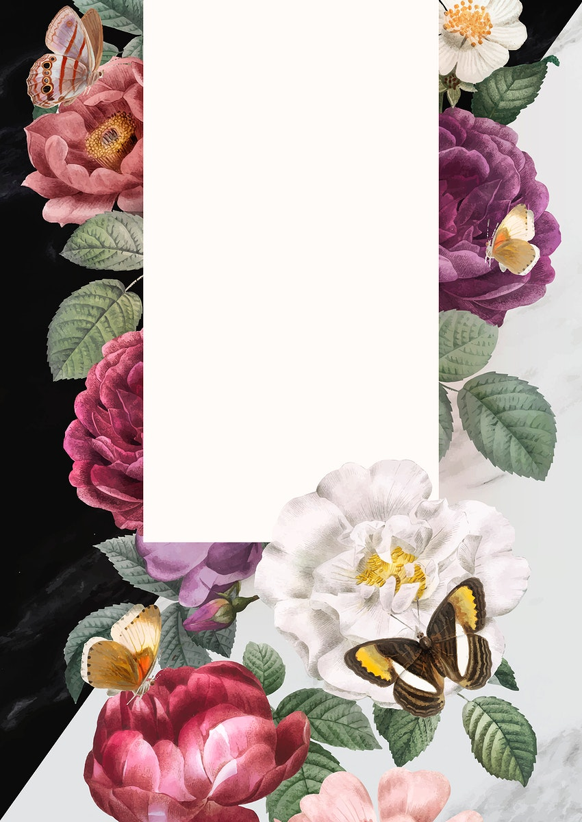 Floral frame on a marble textured background vector