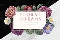 Floral dreams banner on a marble textured background illustration