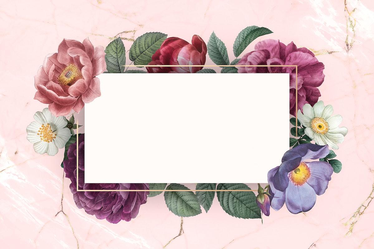 Floral frame on a marble textured background illustration