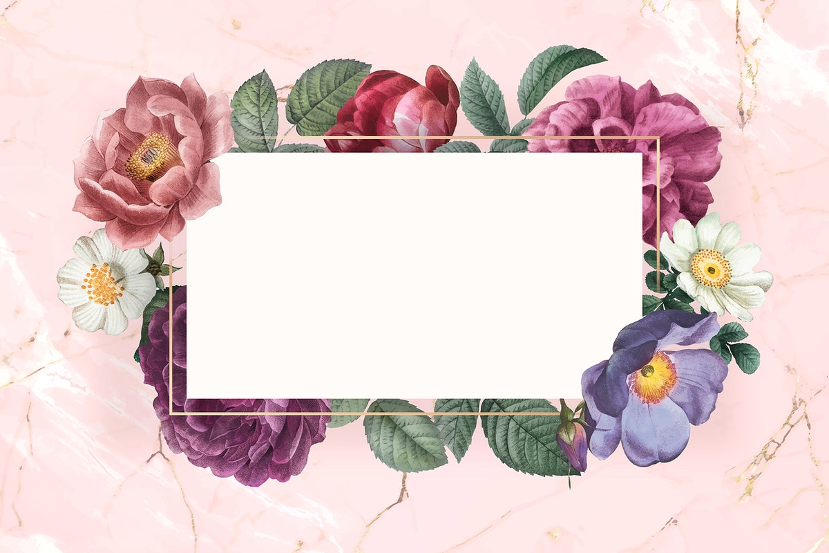 Floral banner on a marble textured background vector