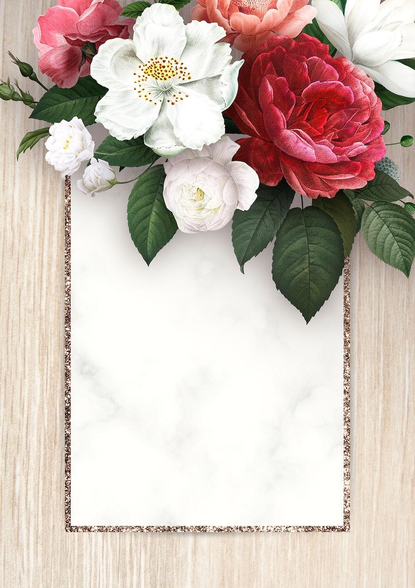 Floral frame on a wooden background illustration
