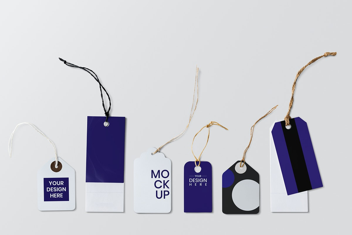 Blue and white price tag mockups set