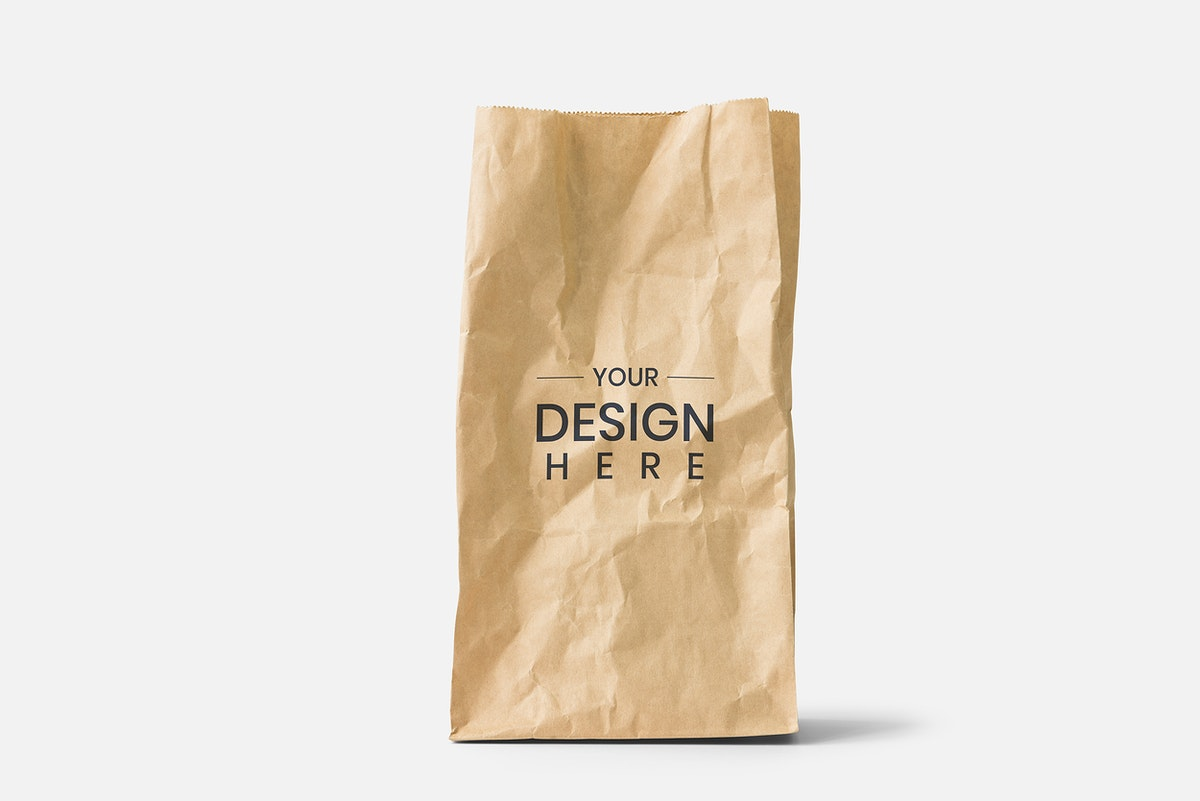 Brown paper bag mockup on a white background