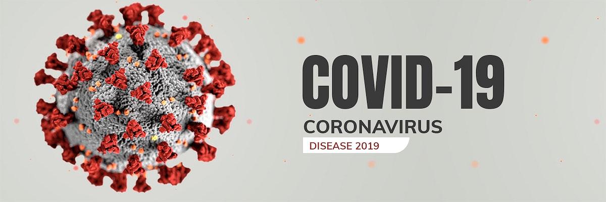 Coronavirus under the microscope banner illustration