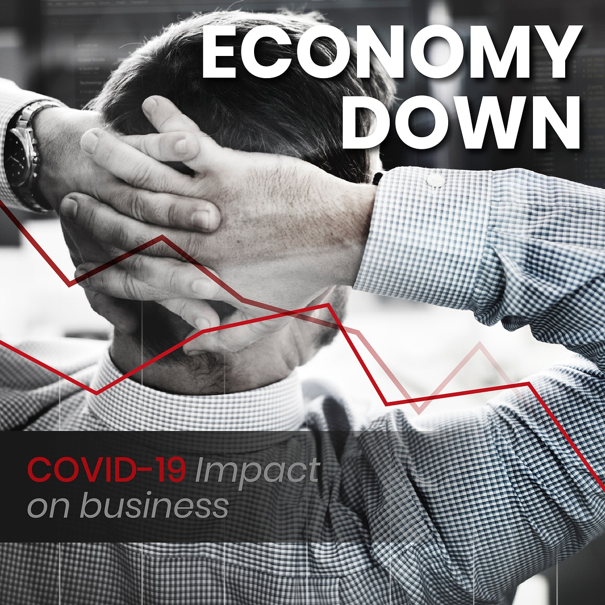 Economy down, covid-19 impact on business social banner template vector