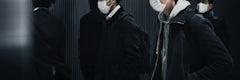 People wearing face masks in public during coronavirus pandemic in Japan social banner