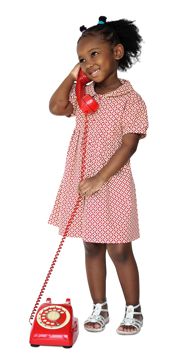 Little Girl Smiling Happiness Talking on the Phone Communication