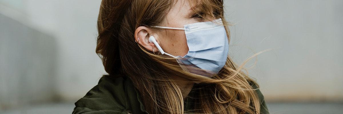 Woman wearing a mask during coronavirus outbreak