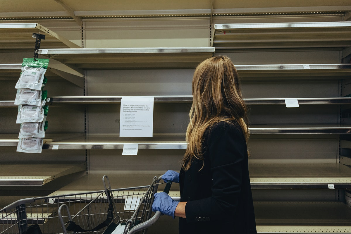Empty shelves at the supermarket due to COVID-19 panic