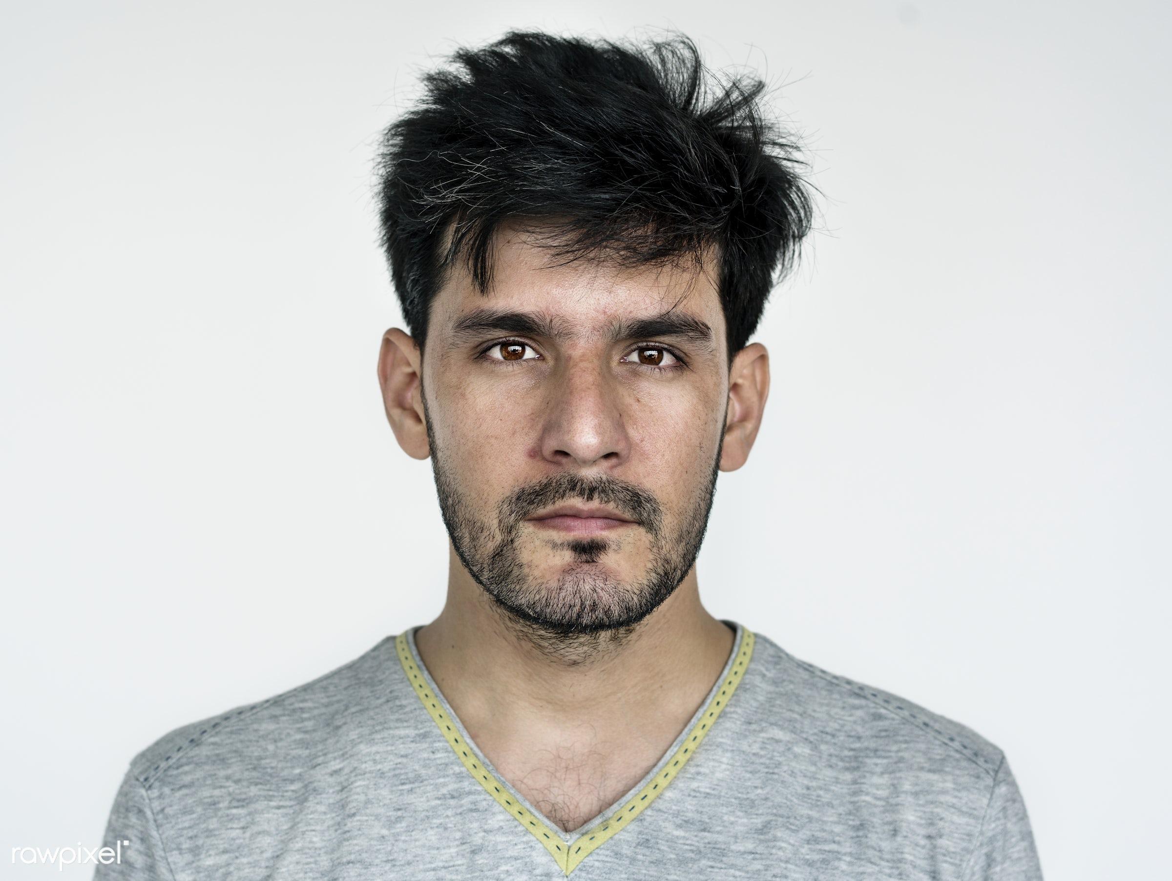 Portrait of an Afghan man - studio, adult, afghan, afghanistan, alone, asian, beard, bearded, casual, closeup, expression,...