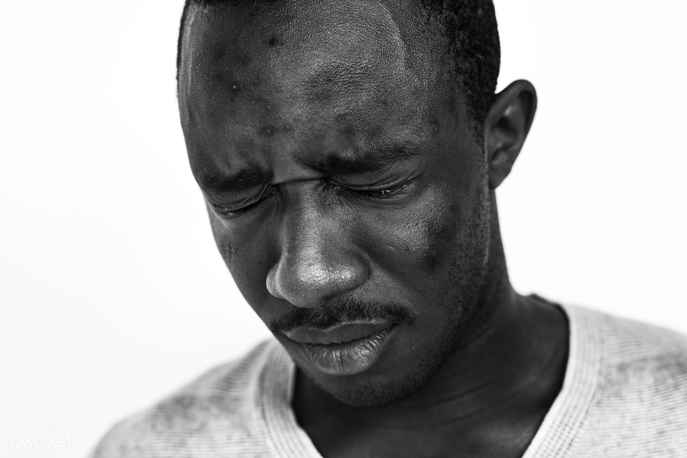 Portrait of a Ghanaian man - adult, africa, african, african descent, alone, anguish, beard, black, black and white, closeup...