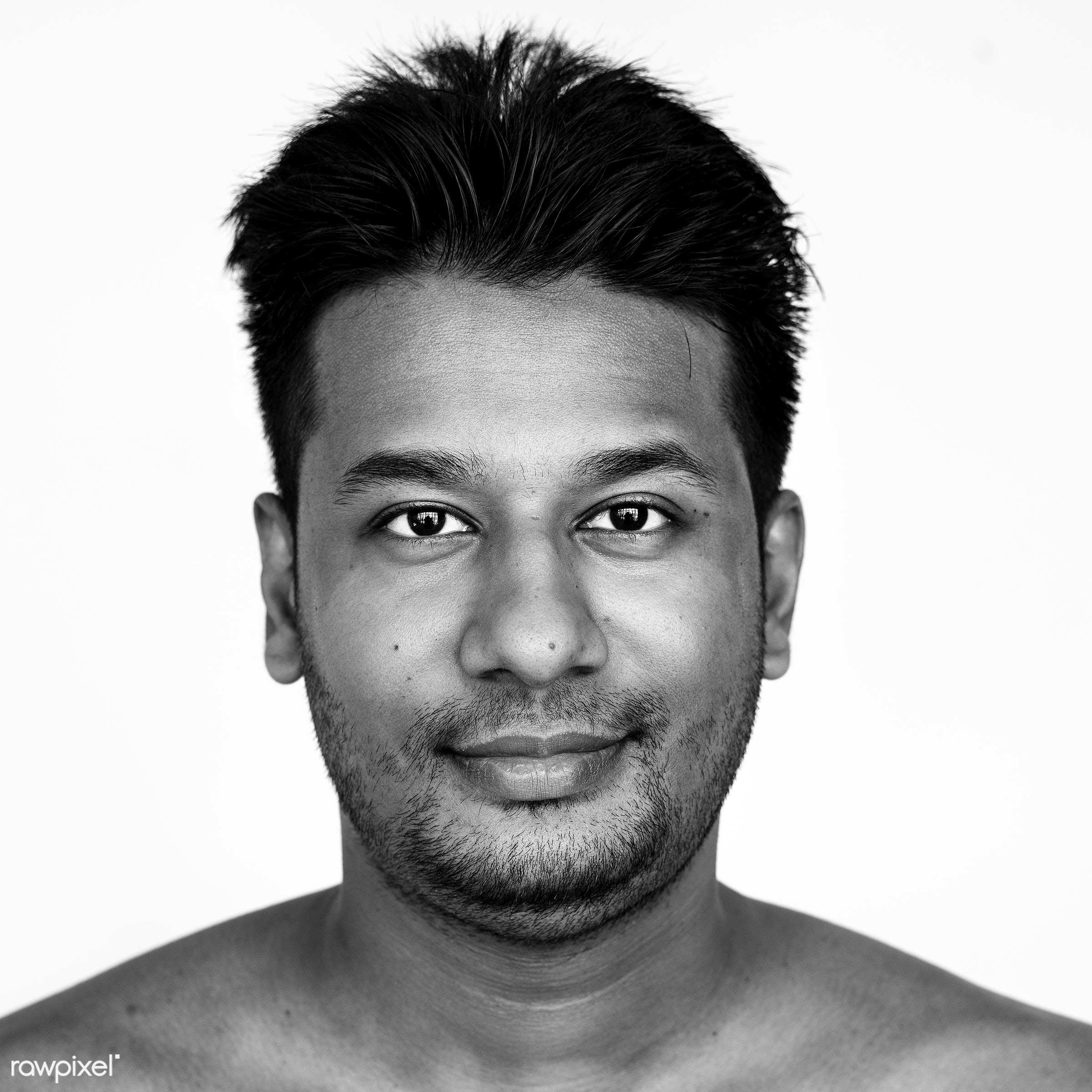 Portrait of a Bangladeshi man - adult, alone, asia, asian, bangladesh, bangladeshi, beard, black and white, casual, cheerful...