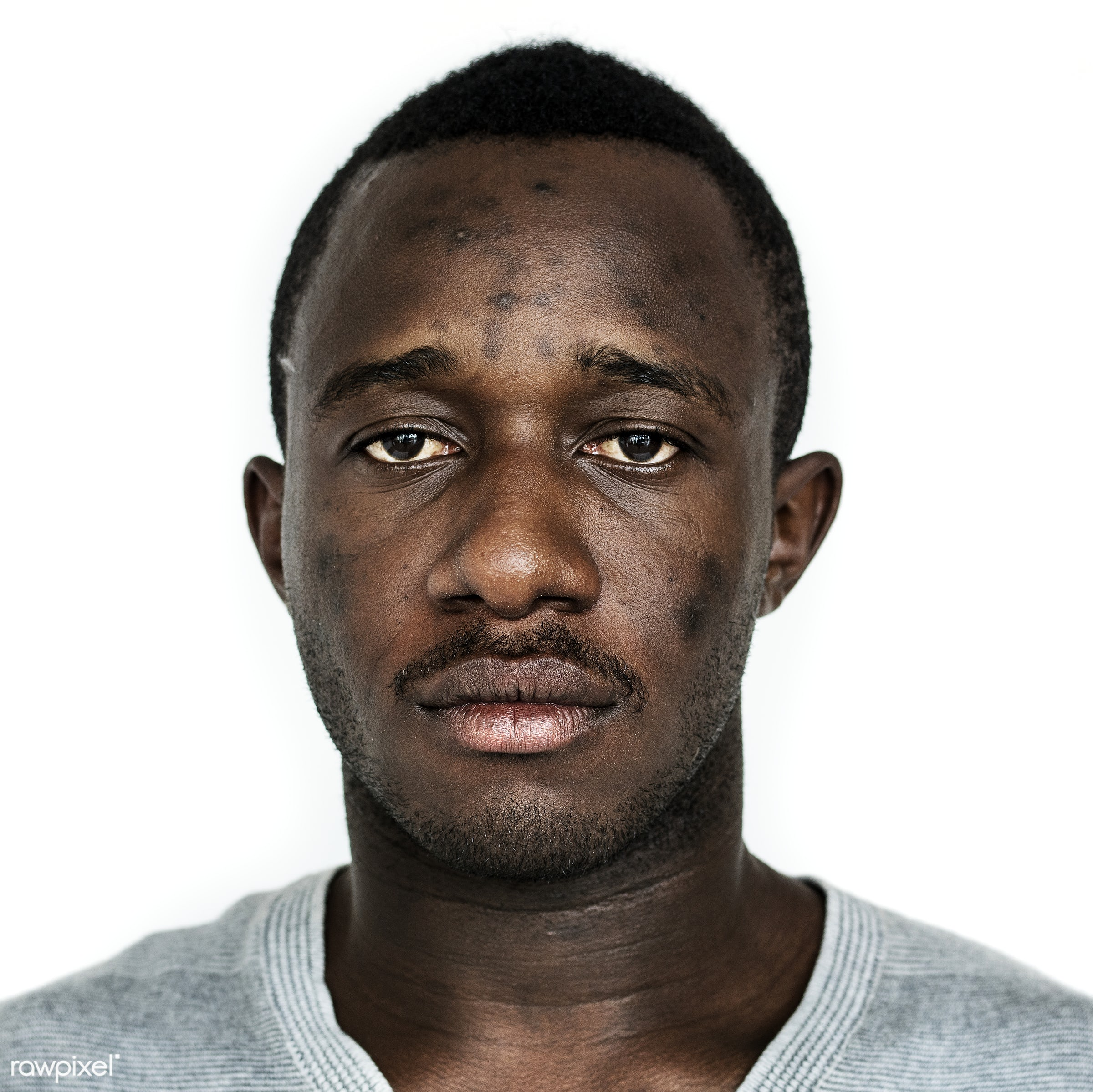 Portrait of a Ghanaian man - studio, adult, african, african descent, alone, beard, black, casual, closeup, expression, face...