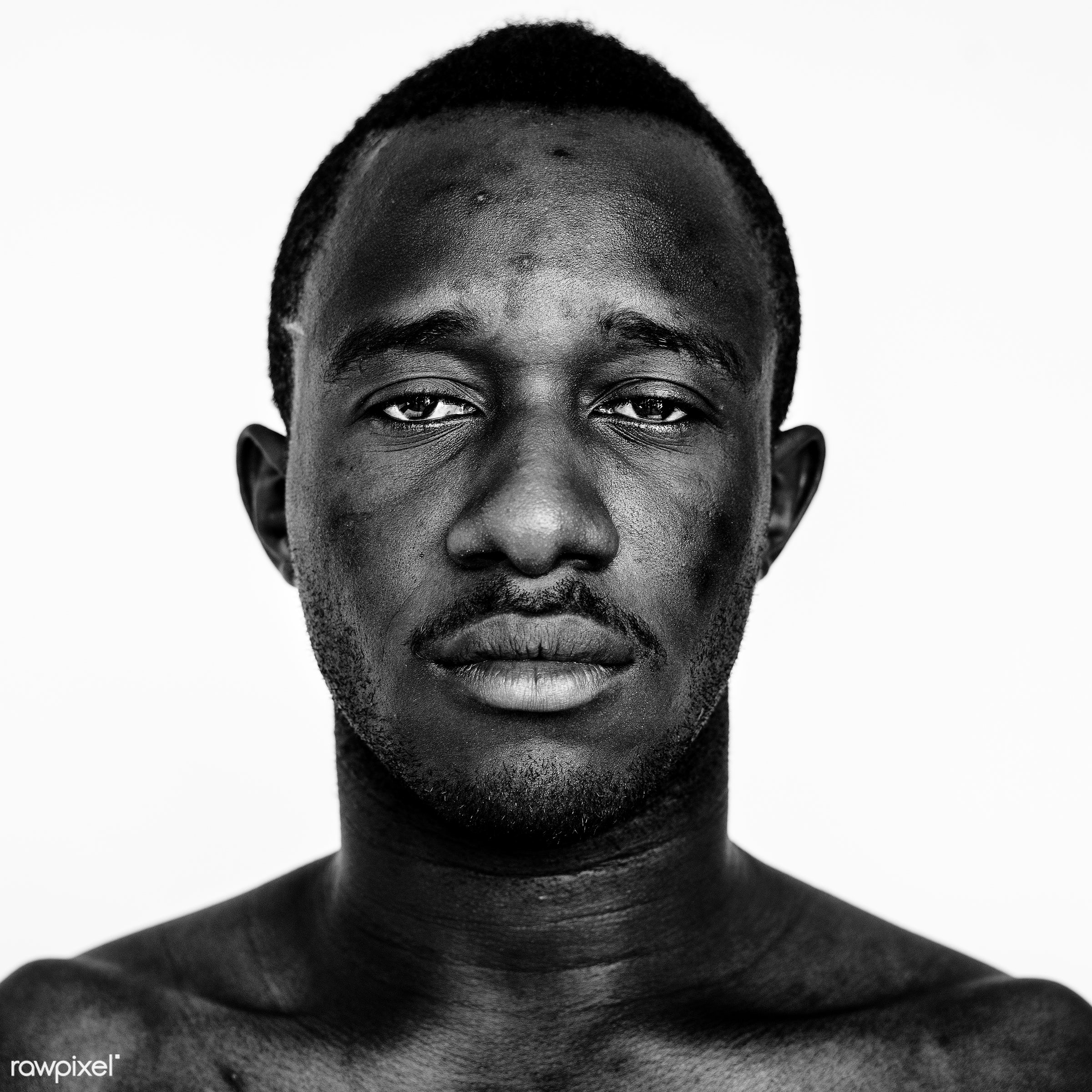 Portrait of a Ghanaian man - studio, adult, african, african descent, alone, beard, black, black and white, closeup,...