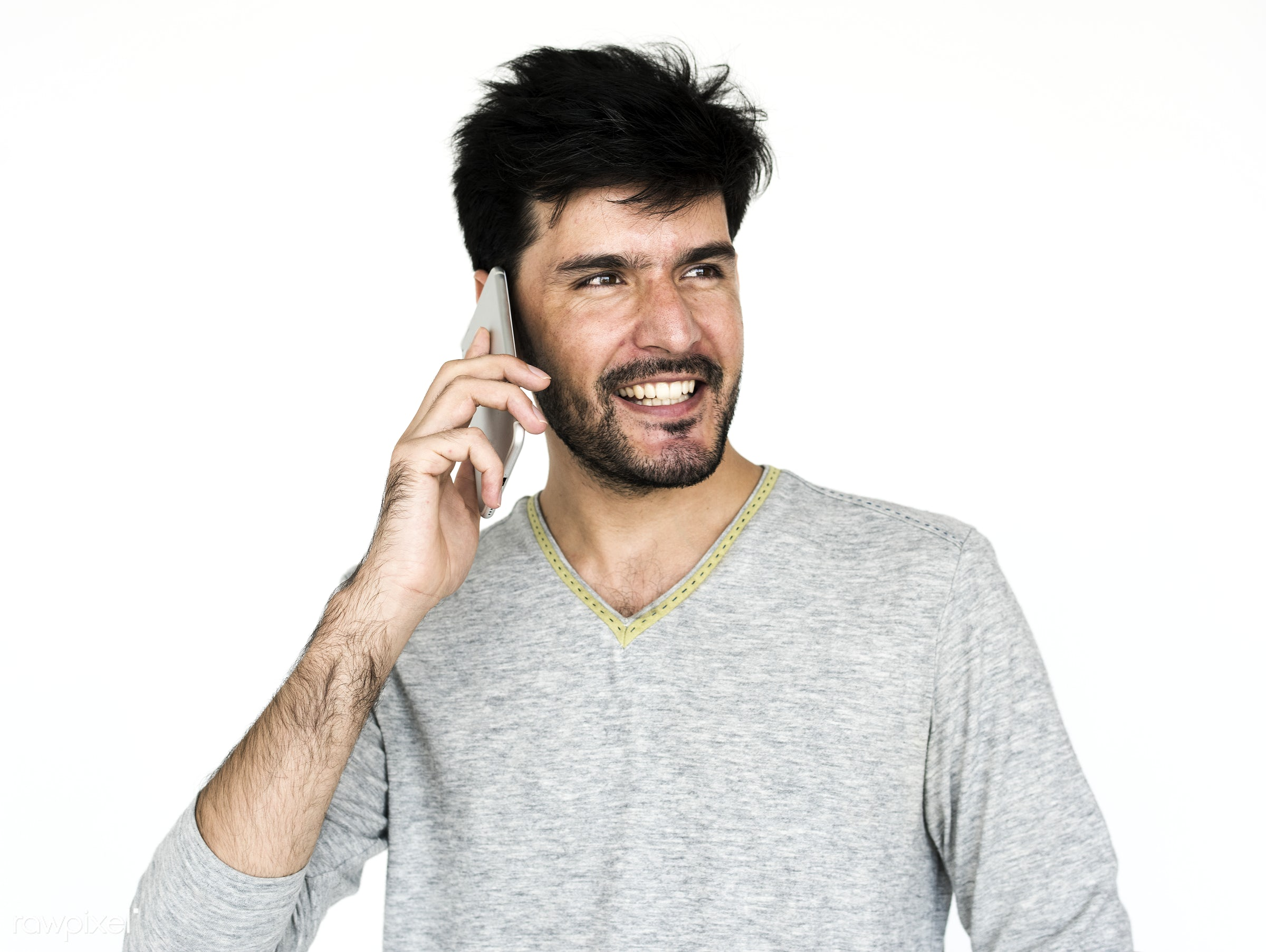 Portrait of a man using a phone - adult, afghan, afghanistan, alone, asian, beard, bearded, calling, casual, cheerful,...