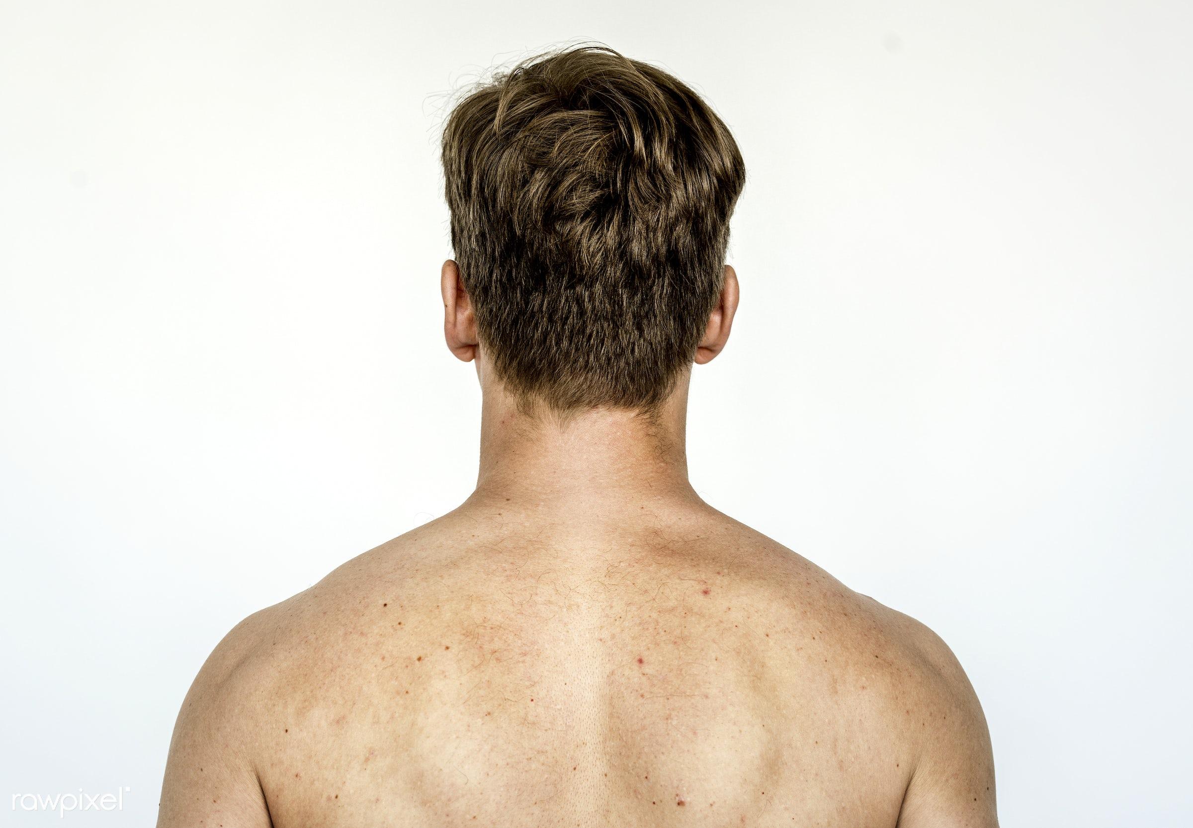 Rear view portrait of a man - face, adult, alone, american, back, caucasian, closeup, european, expression, faces, focus,...