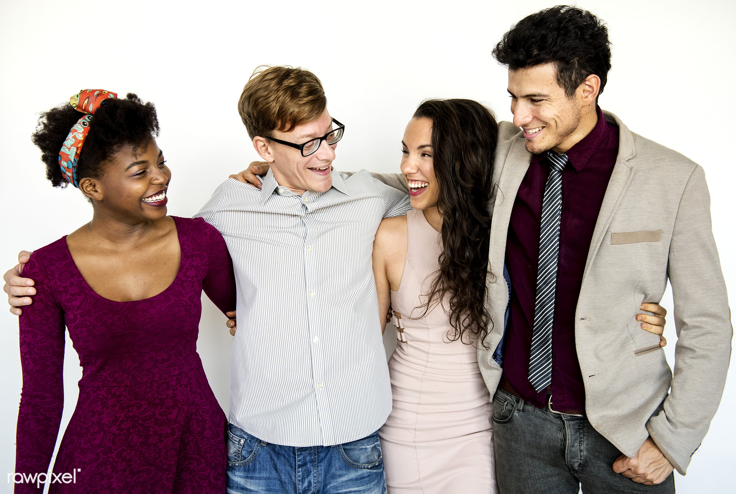 Group of diverse friends - adult, african, american, caucasian, cheerful, closeup, content, diverse, european, expression,...