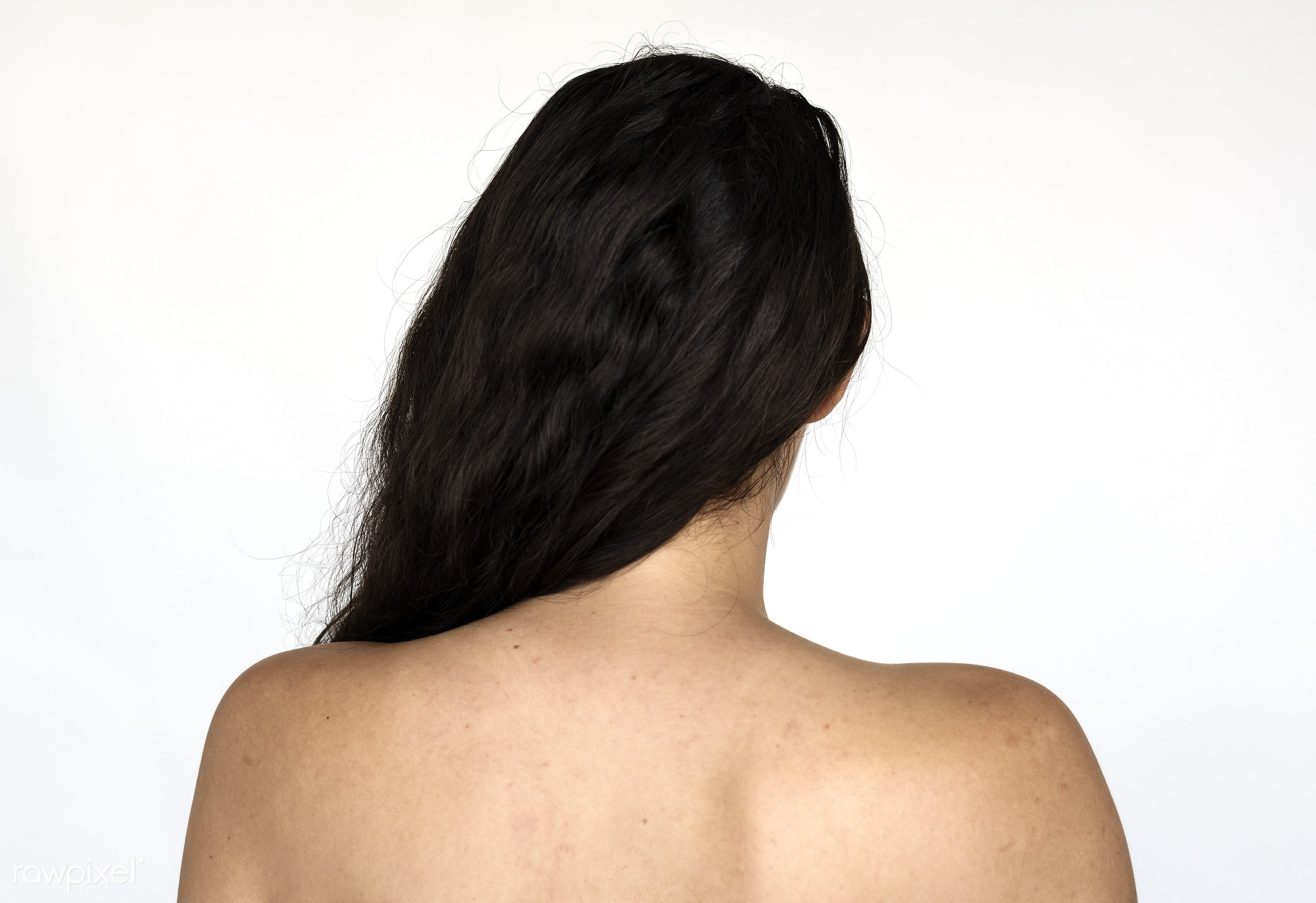 Rear view portrait of a woman - adult, alone, back, closeup, european, expression, face, faces, focus, hair, isolated, look...