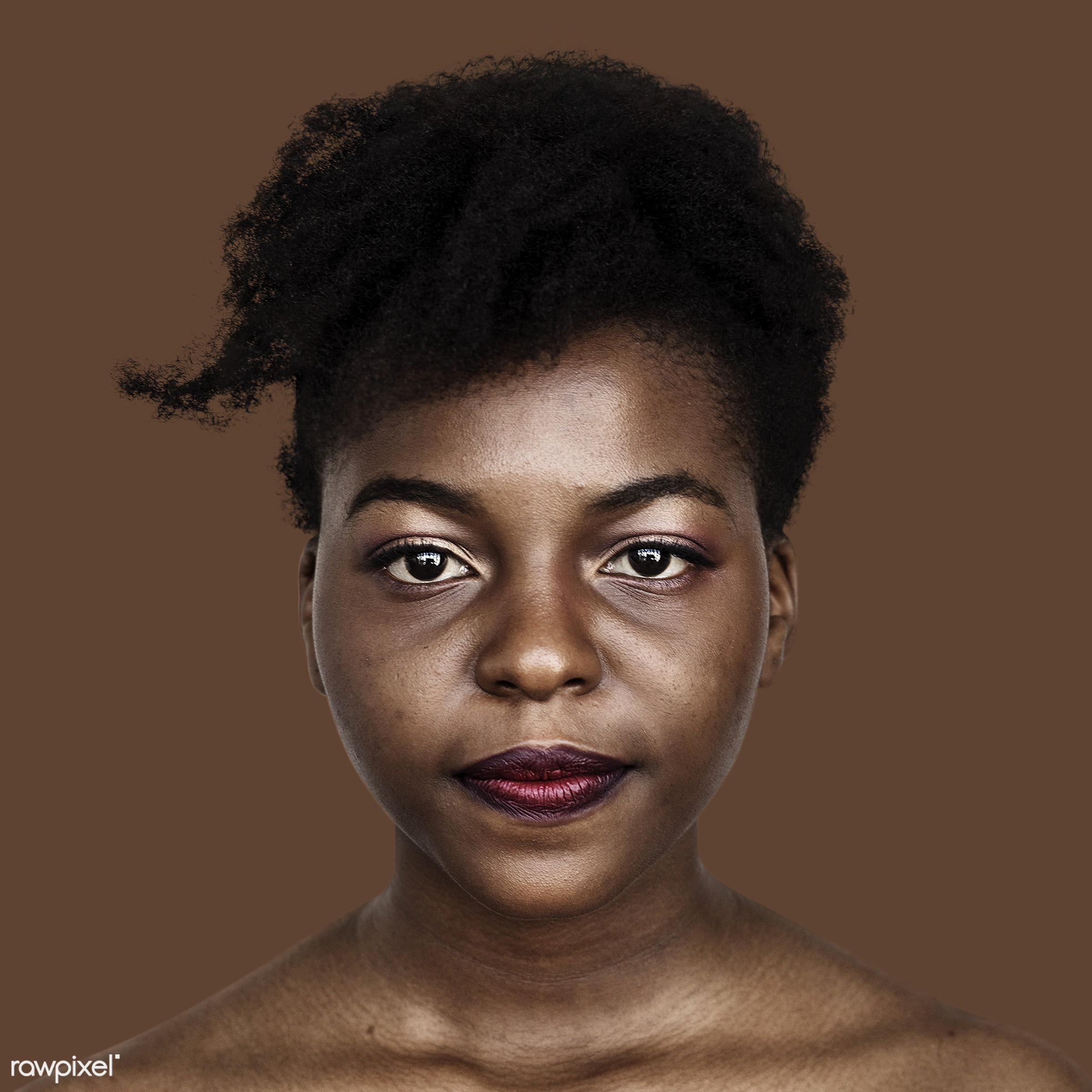 Portrait of an African woman - adult, african, alone, black, brown, closeup, expression, face, faces, focus, isolated,...