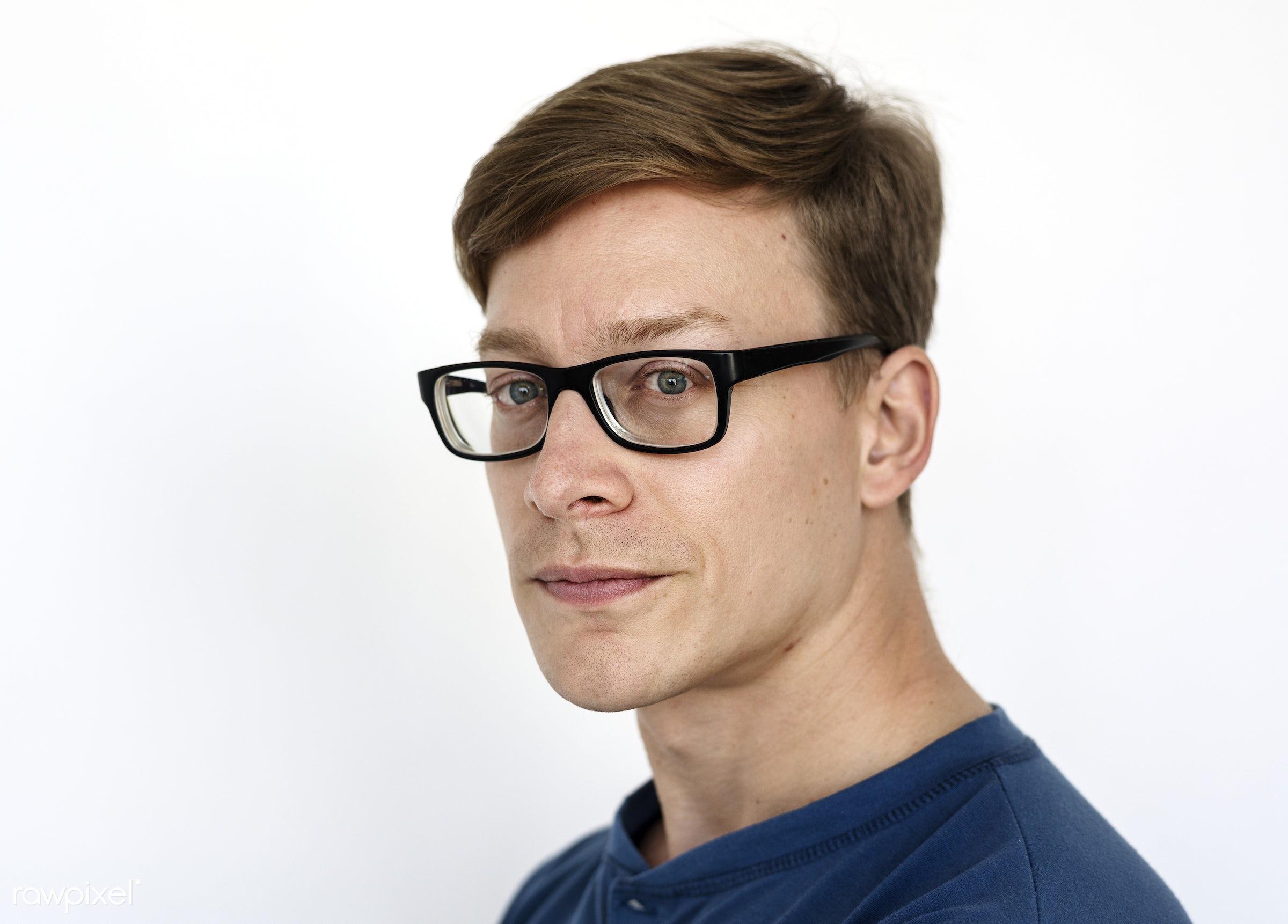 Portrait of an Austrian man - adult, alone, american, austria, austrian, beard, casual, caucasian, cheerful, closeup,...