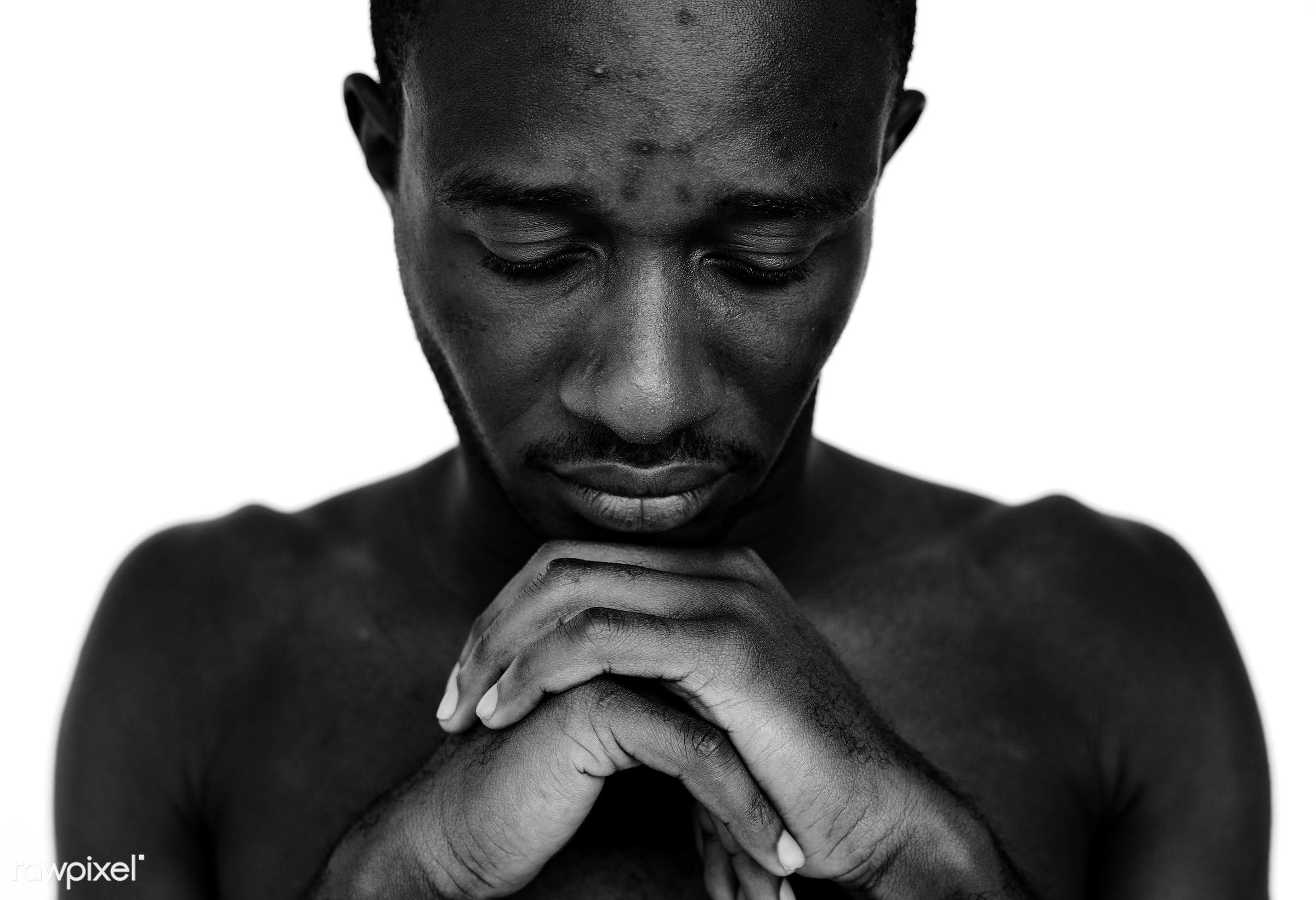Portrait of a Ghanaian man - pray, adult, african, african descent, alone, beard, black, black and white, catholic, closeup...