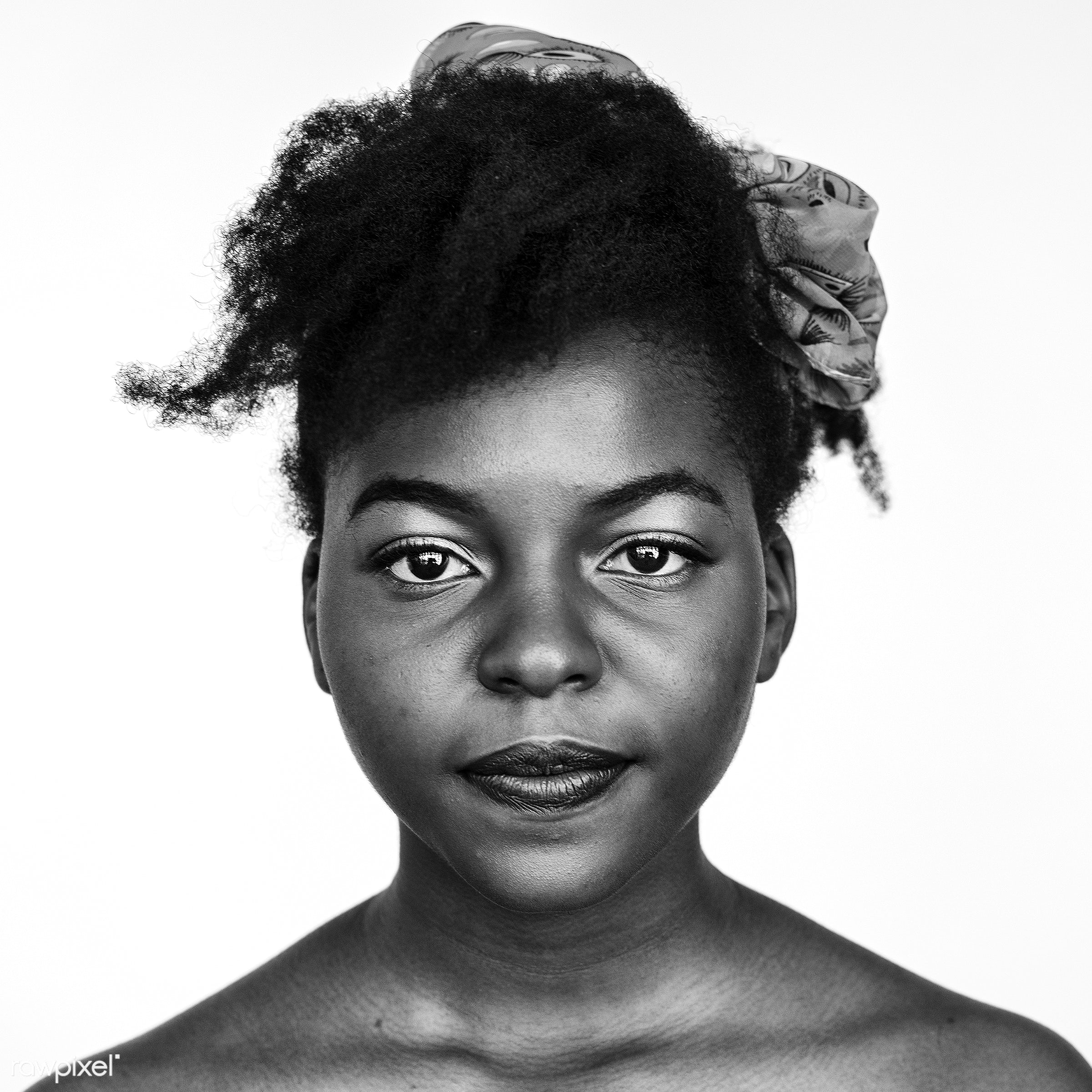 Portrait of an African woman - woman, face, adult, african, alone, black and white, closeup, expression, faces, focus,...