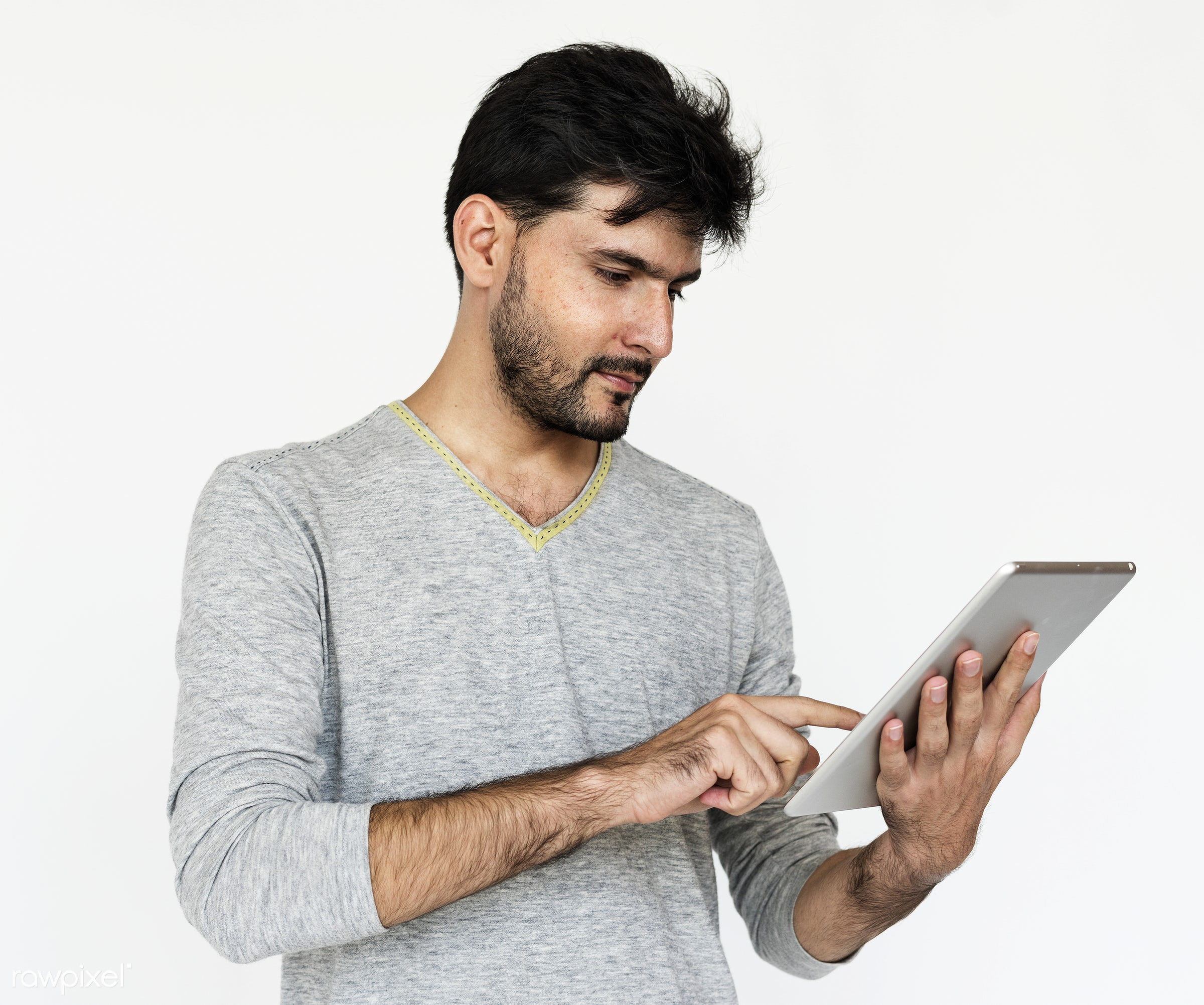 Portrait of a man using a digital tablet - adult, afghan, afghanistan, alone, asian, beard, bearded, casual, closeup,...
