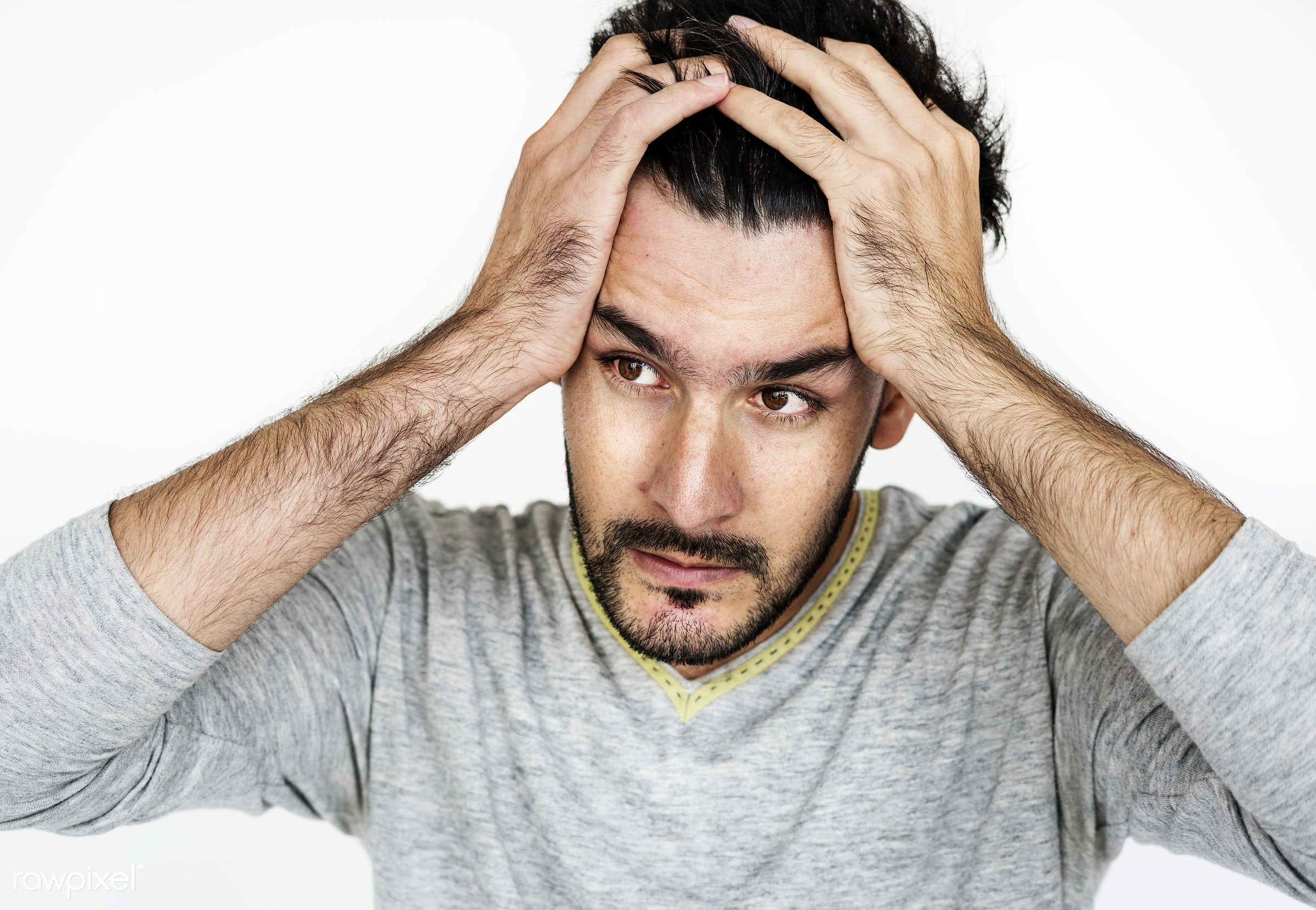 Portrait of a stressed man - adult, afghan, afghanistan, alone, asian, beard, bearded, casual, closeup, confused, expression...