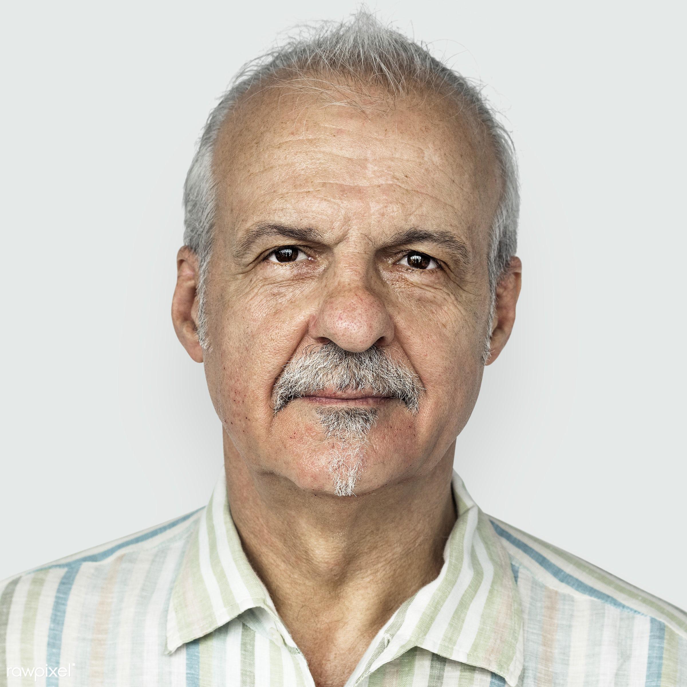 Portrait of a British elderly man - psd, adult, alone, american, britain, british, caucasian, cheerful, closeup, elderly,...