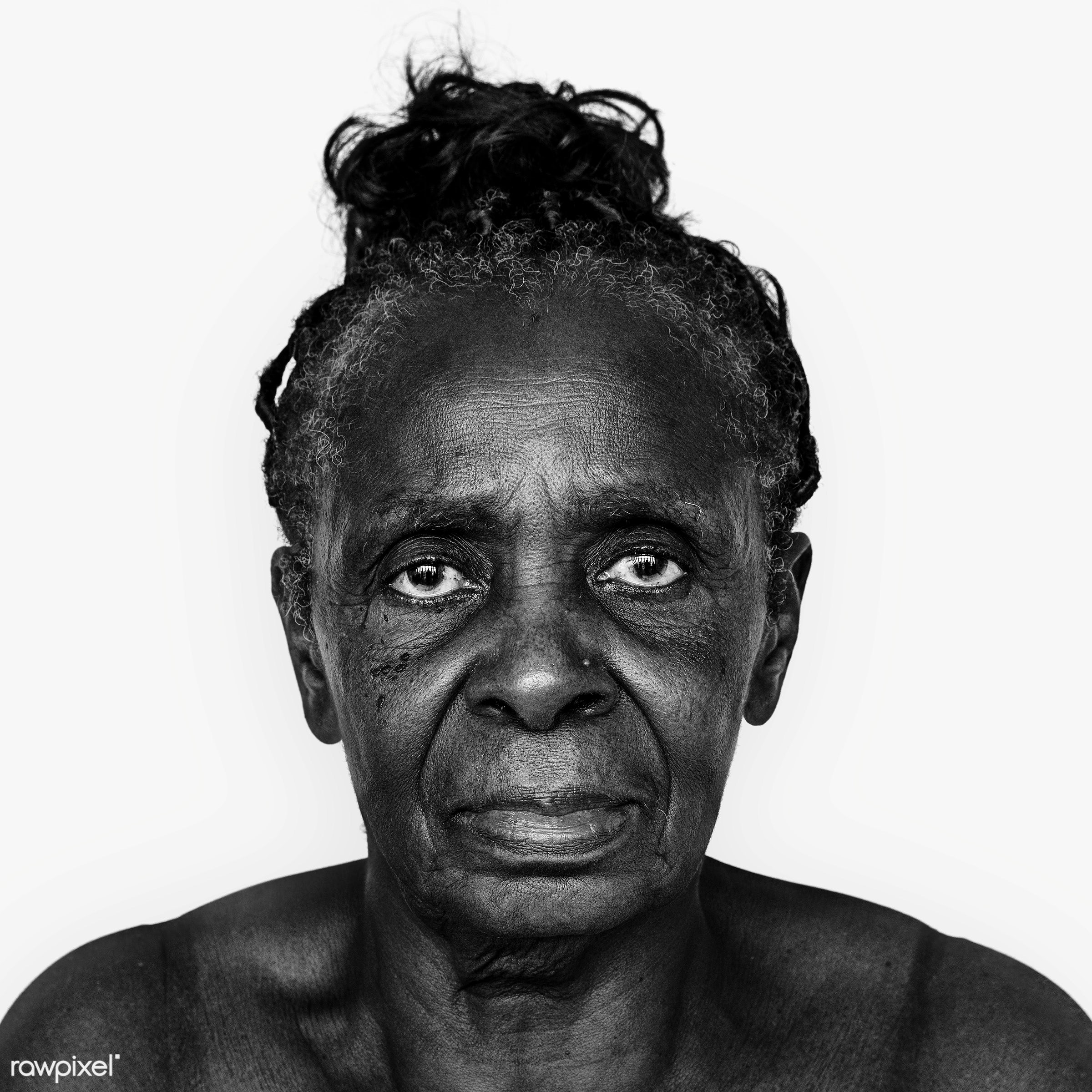 Portrait of a Congolese woman - adult, african, african descent, alone, black, black and white, central africa, cheerful,...