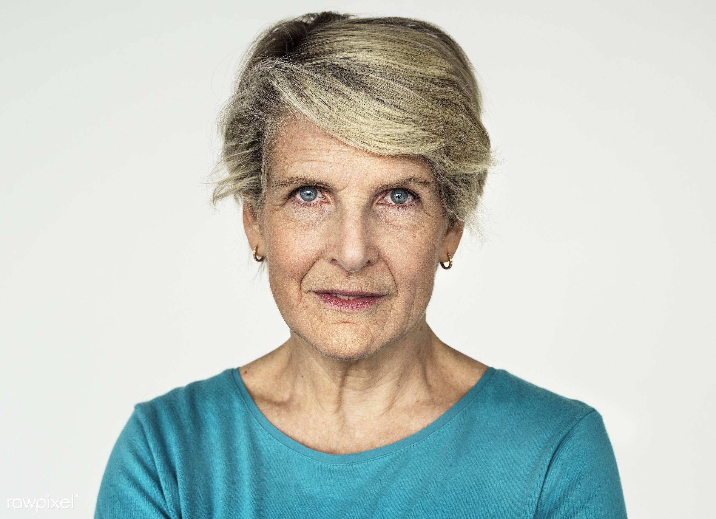 Portrait of an American woman - adult, alone, america, american, blouse, caucasian, cheerful, elderly, emotion, european,...
