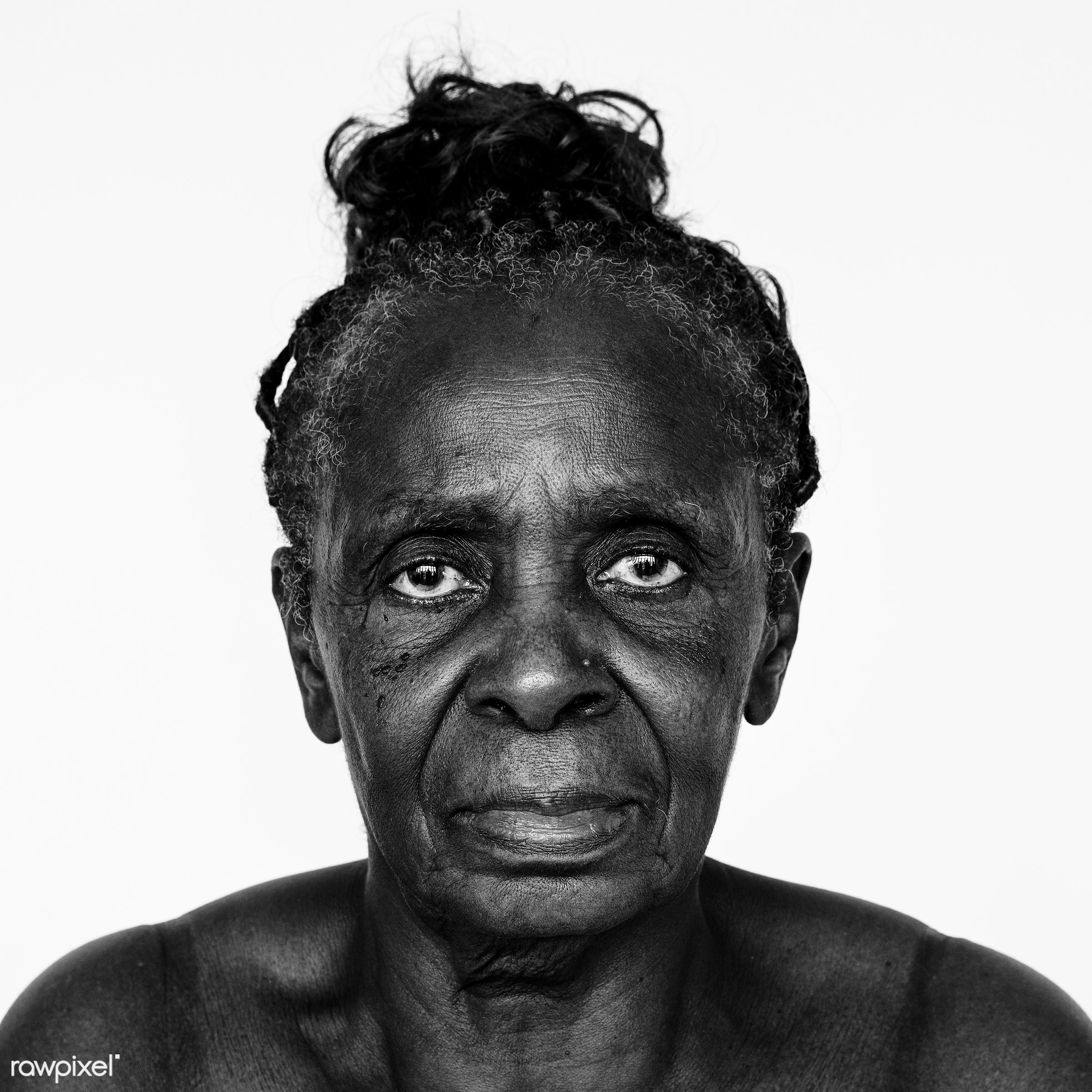 Portrait of a Congolese woman - congo, adult, african, african descent, alone, black, black and white, central africa,...