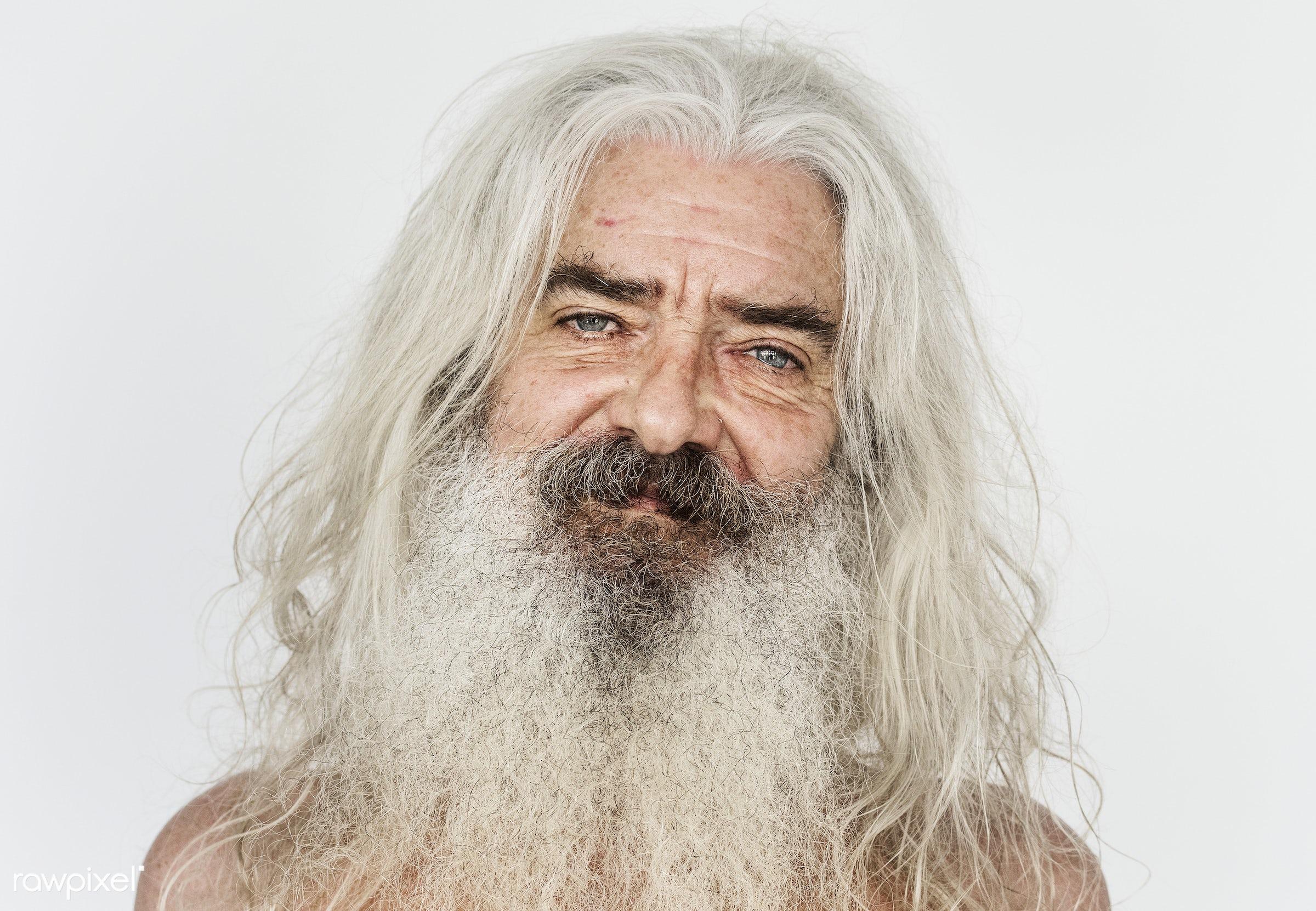 Portrait of a British elderly man - adult, alone, american, bared chest, beard, britain, british, caucasian, cheerful,...