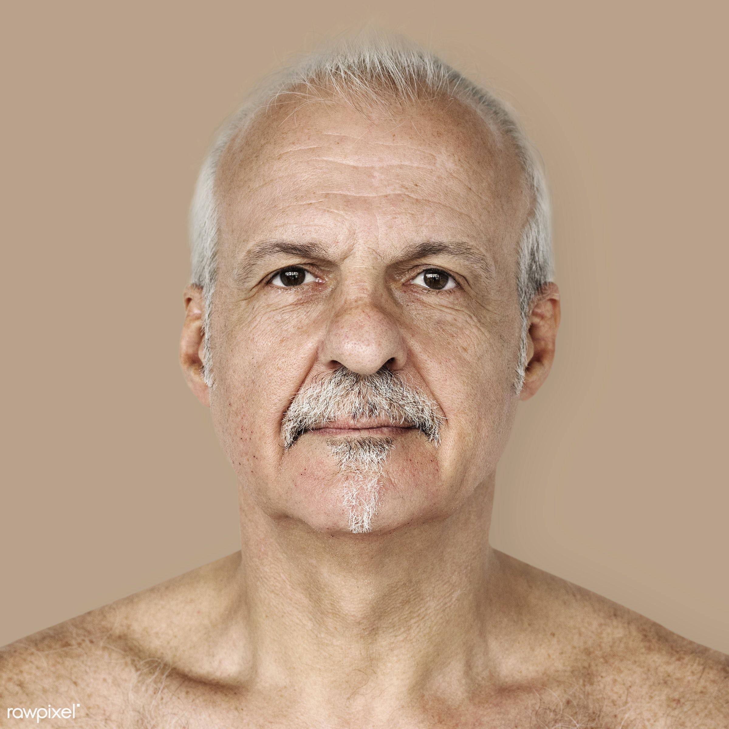 Portrait of a British elderly man - adult, alone, american, bared chest, britain, british, caucasian, cheerful, closeup,...