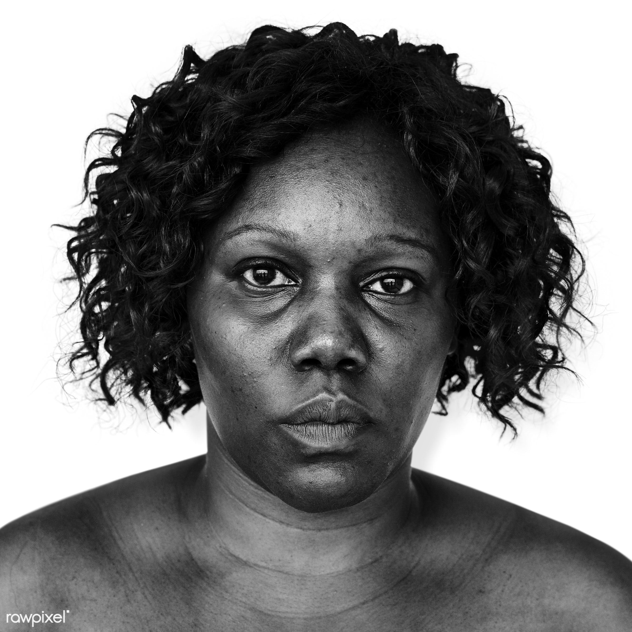Portrait of an Ugandan woman - adult, african, african descent, alone, bared chest, black, black and white, cheerful, east...