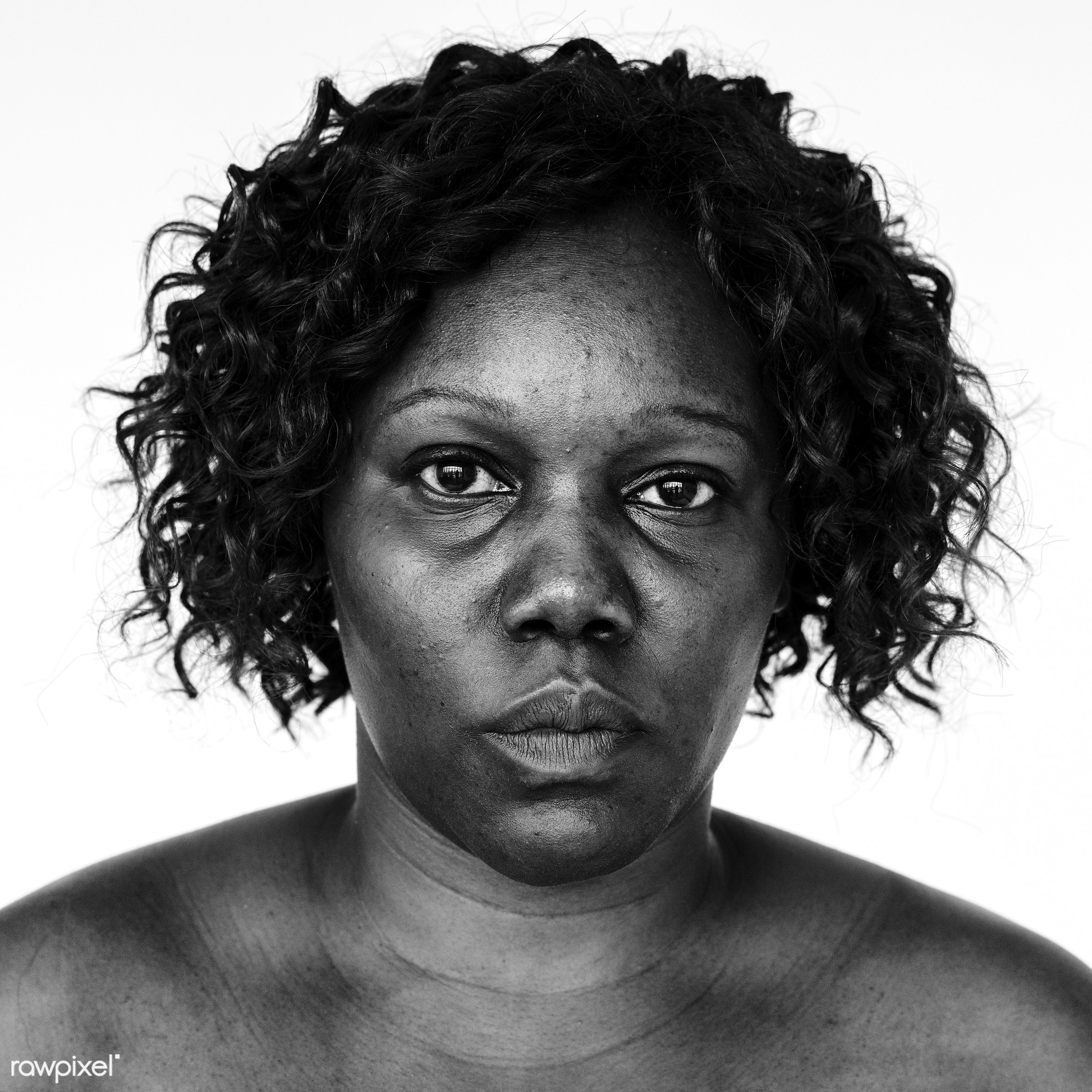 Portrait of an Ugandan woman - portrait, adult, african, african descent, alone, bared chest, black, black and white,...