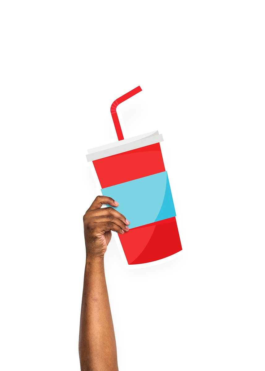 Hand holding a juice cup cardboard prop