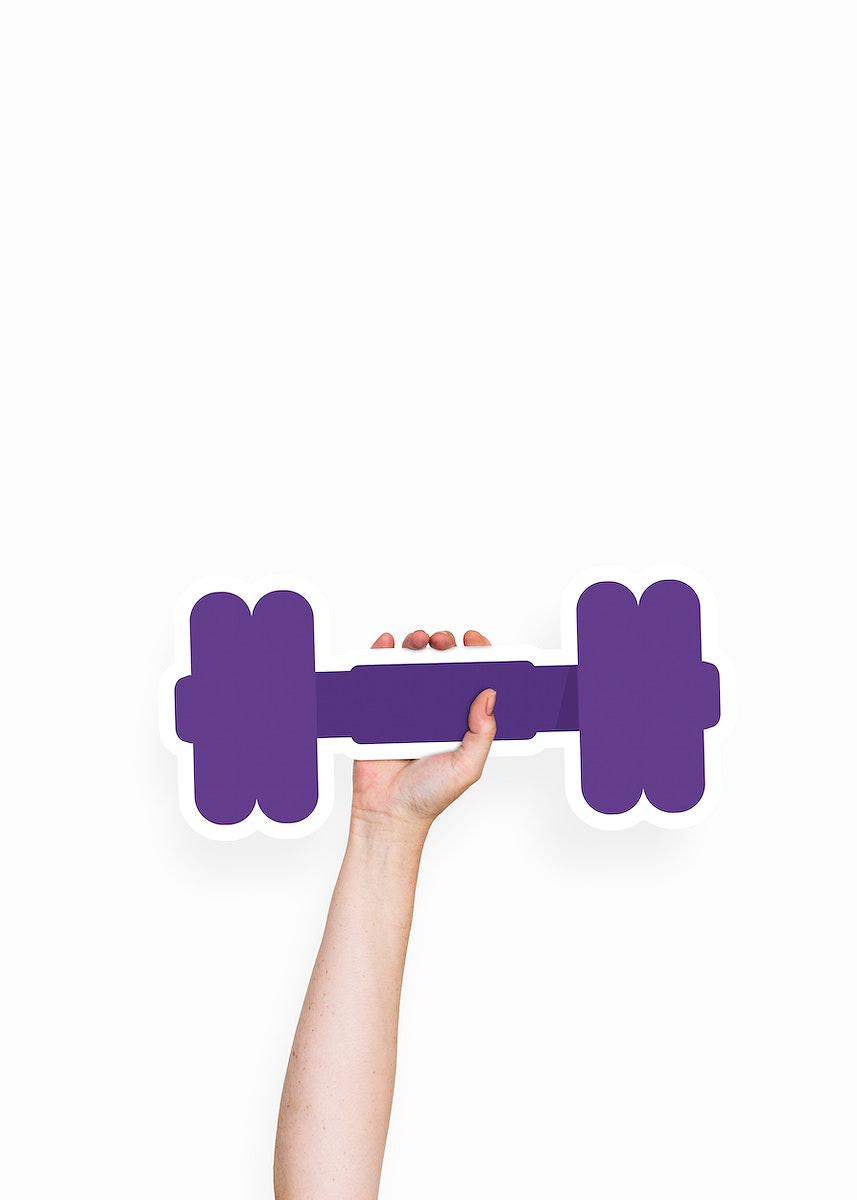 Hand holding a dumbbell cardboard prop