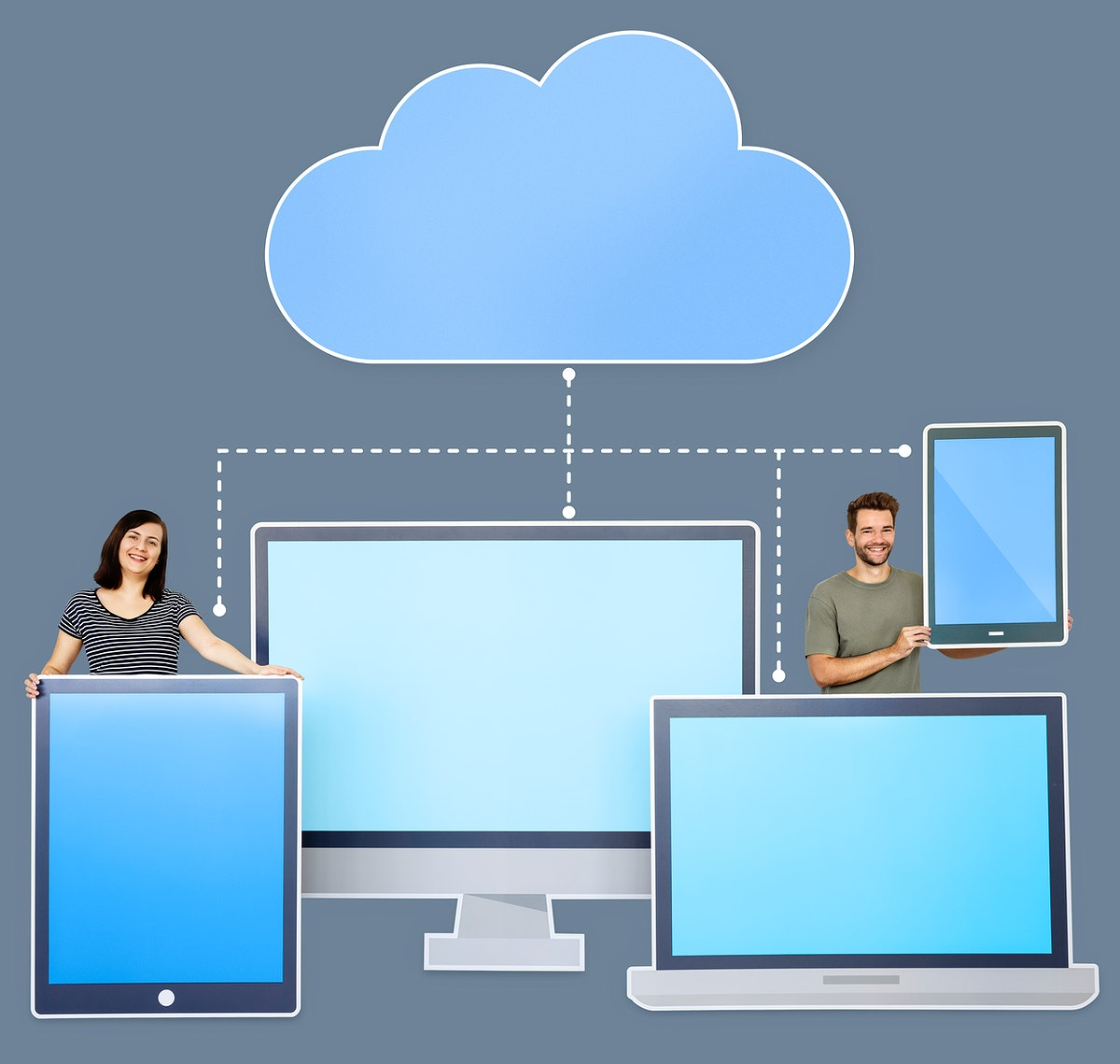 People and cloud computing icons