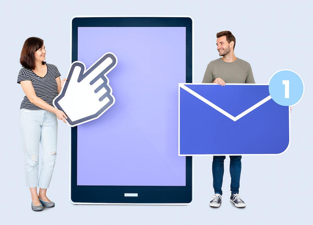 People sending a message via a tablet